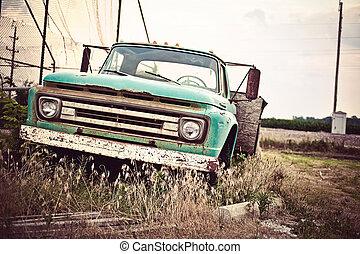 stary, wóz, marszruta, na, zardzewiały, historyczny, 66, wzdłuż