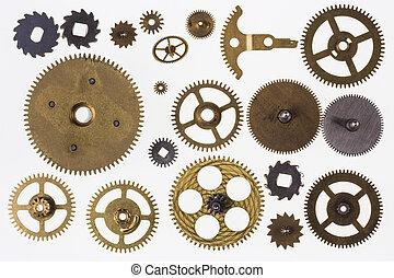 stary, zegar, noski, -, odizolowany, mechanizm zegarowy, strony