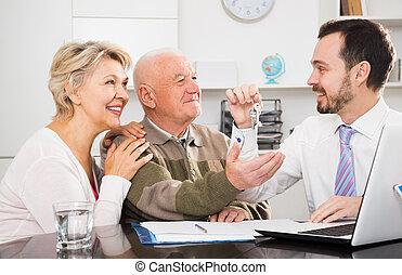 stary, znak, człowiek, porozumienie, kobieta, sprzedaż