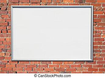 stary, znak, tablica ogłoszeń, cegła, wall., czerwony