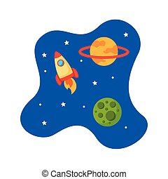 statek kosmiczny, rakieta, styl, wyrzutnia, płaski, scena, wszechświat, ikona