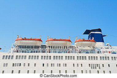 statek, lifeboats., rejs