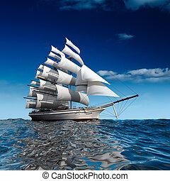 statek, nawigacja, morze