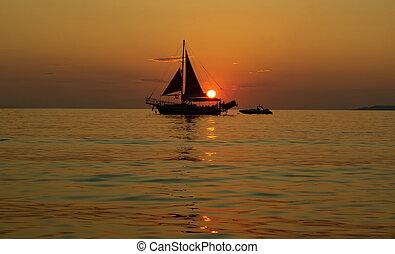 statek, zachód słońca, nawigacja, morze