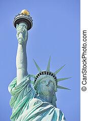 statua, closeup, manhattan, miasto, york, nowy, swoboda