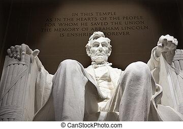 statua, memoriał, dc, do góry, lincoln, zamknięcie, waszyngton, biały
