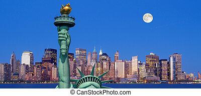 statua, miasto, york, swoboda, nowy
