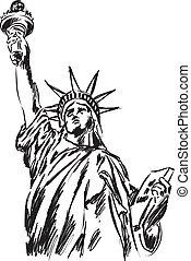 statua, swoboda, ilustracja