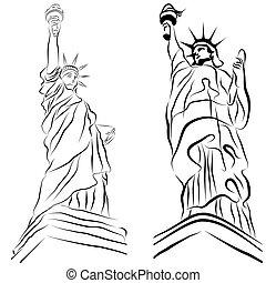statua, swoboda, rysunki