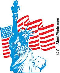 statua, wolność, usa bandera