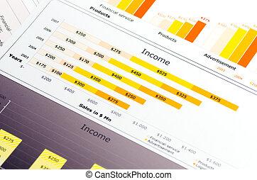 statystyka, barwny, wykresy, zbyt, wykresy, zameldować