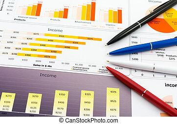 statystyka, kolor, zbyt, pencil's, wykresy, zameldować, kilka
