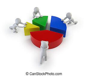 statystyka, ludzie, -, teamwork, mały, 3d