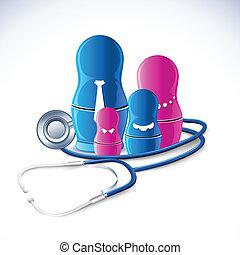 stetoskop, dookoła, rodzina