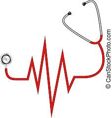 stetoskop, elektrokardiogram, -