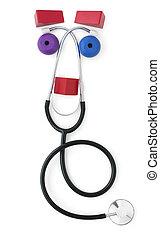 stetoskop, przyjacielski, pediatryczny