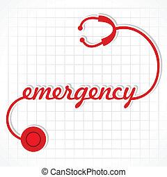 stetoskop, ustalać, słowo, nagły wypadek