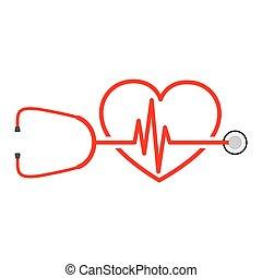 stetoskop, wektor, znak, uderzenie sera, ilustracja, heart.
