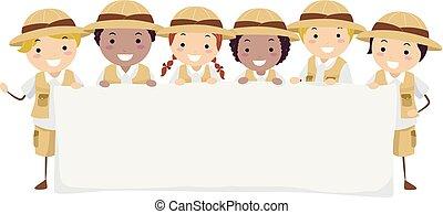 stickman, dzieciaki, chorągiew, badacz, ilustracja