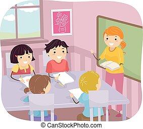 stickman, dzieciaki, grupa, klasa