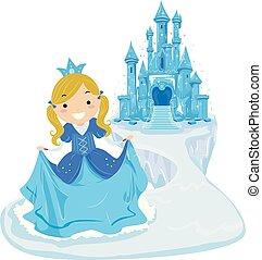 stickman, dziewczyna, koźlę, lód, zamek, ilustracja, księżna