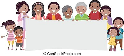 stickman, rodzina, chorągiew, czarnoskóry