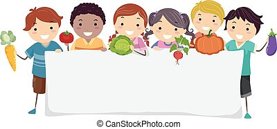 stickman, warzywa, dzieciaki, chorągiew, ilustracja