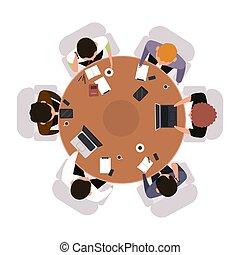 stołowy szczyt, spotkanie, brainstorming, illustration., prospekt, okrągły, pracownicy, pojęcie, nad, albo, wektor, teamwork, biuro, prospekt., odizolowany, handlowy