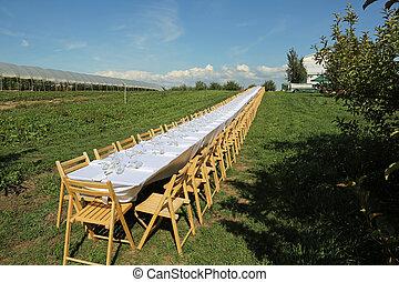stoły, zewnątrz, długi