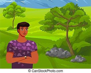 stoi, człowiek, tło, góry., zielony, pojęcie, las, ilustracja, wysoki, młody, podróż