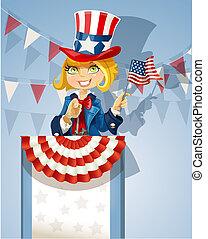 stoi, podium, sprytny, garnitur, sam, usa, blond, wujek, bandera, dziewczyna