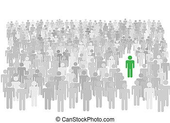 stoi, tłum, ludzie, symbol, wielki, osoba, osobnik, poza