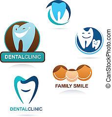 stomatologiczny, klinika, zbiór, ikony