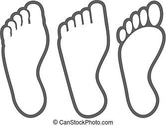 stopa, kreska, cienki, ludzki, ikony