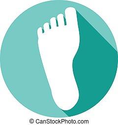 stopa, płaski, ludzki, ikona
