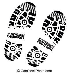 stopa, węgiel, druk, bucik