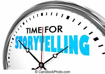 storytelling, zegar, ilustracja, słówko, czas, 3d