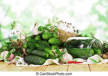 stos, świeży, szklany słój, green., abstrakcyjny, ogórki, przyprawy