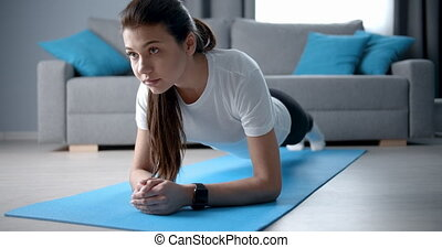stosowność, mata, ruch, deska, yoga, dziewczyna