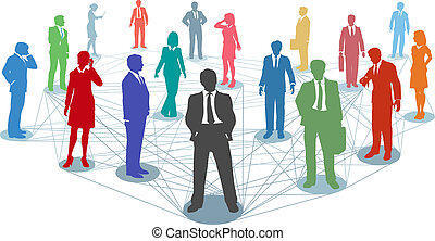 stosunek, ludzie, sieć, handlowy, połączyć