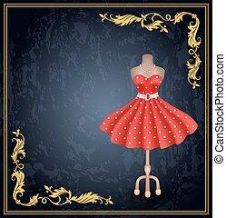 strój, dummy., styl, wielokropek polki, retro, modny