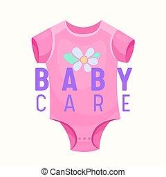 strój, dzieci, noworodek, ad, projektować, etykieta, zaopatrywać, różowy, odzież, onesie, sklep, troska, albo, chorągiew, emblemat, girl., niemowlę, dzieciaki