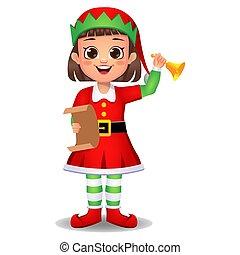 strój, elf, dziewczyna, dzwon dzwon, koźlę, litera