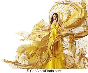 strój, fason, budowla, suknia, żółty, potok, kobieta, fałdzisty, wzór, biały, odzież