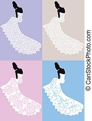 strój, kobieta, wektor, ślub