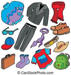 strój, mężczyźni, zbiór