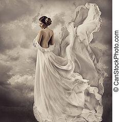 strój, podmuchowy, suknia, artystyczny, biały, kobiety
