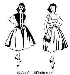 strój, style:, materiał, dziewczyna, woman., 1960's, retro, szykowny, fason, ubrany, partia