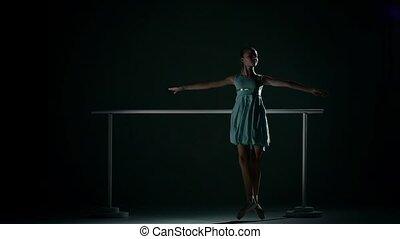 strój, tło, ciemny lazur, ładny, balerina