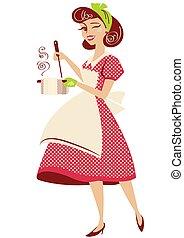 strój, wektor, kuchnia, rocznik wina, gospodyni, room., styl, jej, garnek, odizolowany, czerwony, zupa, dzierżawa, szpilka, biały, ilustracja, gotowanie, do góry, retro